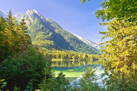 Hintersee lake in Berchtesgaden Alpine landscape view, Bavaria region of Germany
