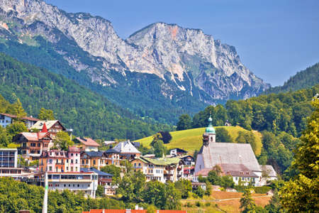 Town of Berchtesgaden and Alpine landscape view, Bavaria region of Germany