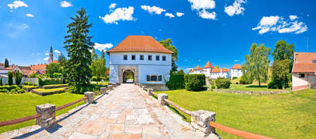 Varazdin. Historic town of Varazdin landmarks and green landscape panoramic view, northern Croatia