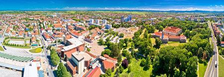 Cakovec and old town of Zrinski in green park aerial panoramic view, Medjimurje region of Croatia