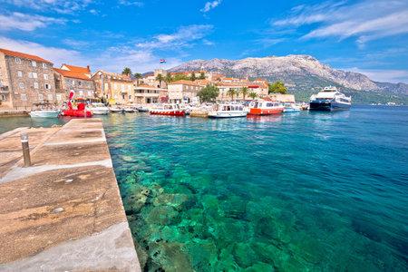 Korcula. Historic town of Korcula island waterfront view, archipelago of southern Dalmatia, Croatia