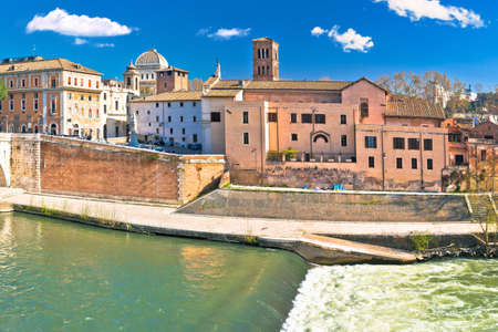 Eternal city of Rome. Tiber river island in Rome waterfront view, capital of Italy