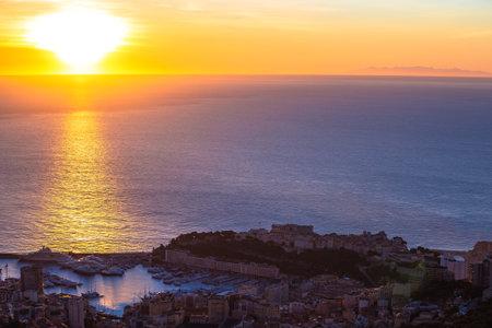 Principality of Monaco aerial panoramic sunrise view, coastline of Cote D Azur