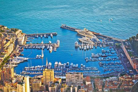 Monte Carlo luxury yacht harbor aerial view, Principality of Monaco Editorial