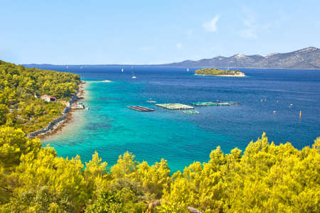 Zadar archipelago. Island of Iz turquoise coastline and landscape view, Dalmatia region of Croatia