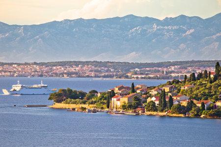 Zadar archipelago. Small island of Osljak and city of Zadar view, archipelago in northern Dalmatia region of Croatia
