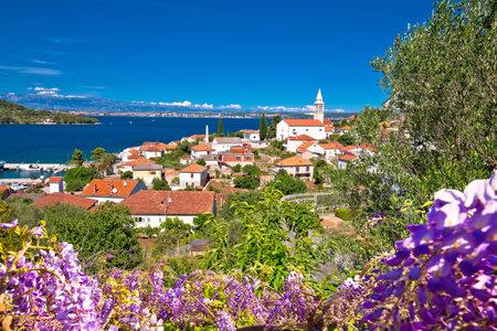 Zadar archipelago. Kali village on Ugljan island old architecture colorful view, Dalmatia region of  Croatia Editorial