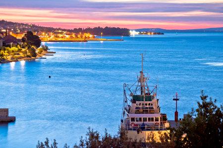 Zadar archipelago. Colorful sunset in Kali harbor bay on Ugljan island view, Dalmatia region of Croatia Editorial
