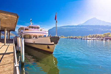 Alpnachstad Swiss Alps village on Luzern lake boat pier and landscape view, tourist destination in Switzerland Editorial