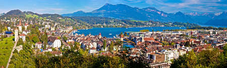 City and lake of Luzern panoramic view from the hill, Alps and lakes landscape of Switzerland Editorial