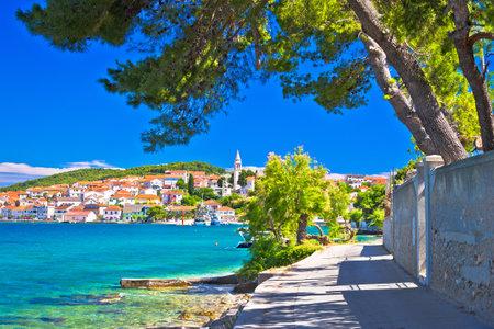 Zadar archipelago. Kali on Ugljan island turquoise sea and walkway view, Dalmatia region of  Croatia Editorial