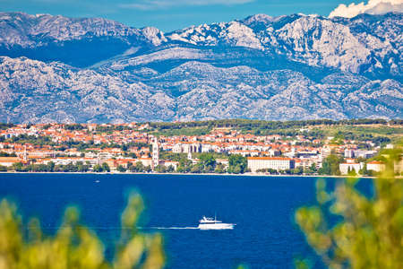 City of Zadar and Velebit mountain background panoramic view, Dalmatia archipelago of Croatia