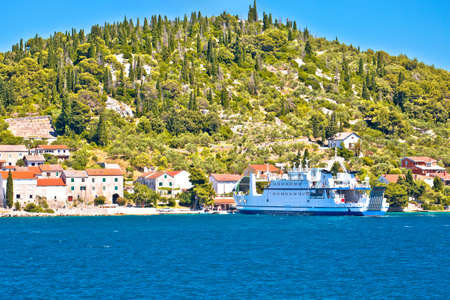 Zadar archipelago. Small island of Osljak ferry port and waterfront view, Zadar archipelago in Dalmatia region of Croatia Editorial