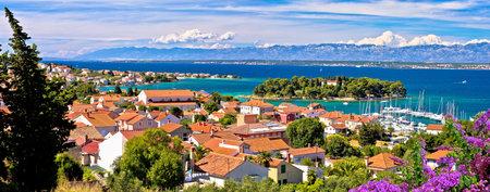 Zadar archipelago. Island of Ugljan waterfront and Galovac islet panoramic view, Preko in Dalmatia region of Croatia