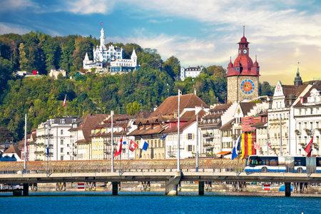 Luzern. Town of Luzern famous landmarks view from lake, historic tourist destination in Switzerland