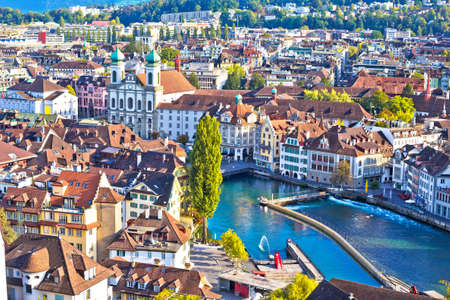 City of Luzern and Reuss river panoramic view, famous tourist destination in Switzerland