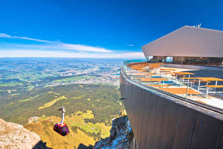 Mount Pilatus aerial cabelway above and town of Luzern aerial view, central Switzerland landscape Editorial