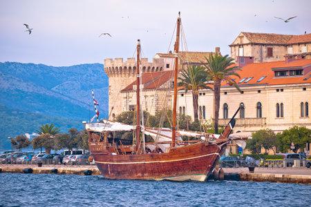 Korcula. Historic town of Korcula wooden sailboat and waterfront view, archipelago of southern Dalmatia, Croatia