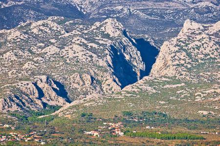 Velebit mountain and Paklenica national park canyon view, northern Dalmatia region of Croatia