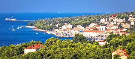 Bol on Brac island. Panoramic view od Bol and Zlatni Rat beach, island of Brac, archipelago of Dalmatia, Croatia