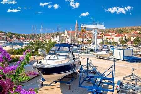 Town of Milna harbor and waterfront architecture view, Island of Brac, Dalmatia archipelago of Croatia