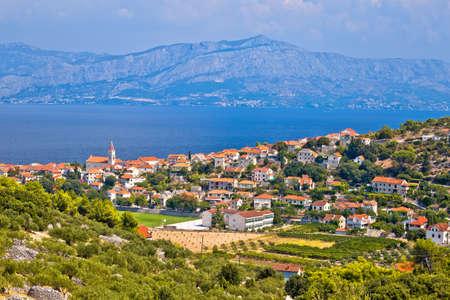 Village of Postira on Brac island coastline view, Dalmatia archipelago of Croatia Standard-Bild