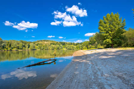 Drava river beach on Mura mouth, Podravina region, natural border of Croatia and Hungary