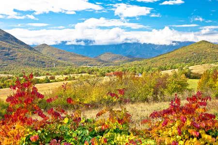 Lika. Scenic landscape of rural region of Lika and Velebit mountain background, Krbava in central Croatia