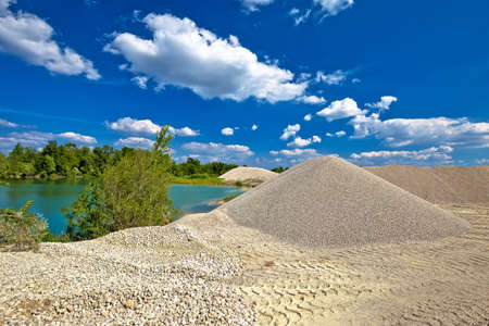 Drava river gravel excavation point view, river extraction in Podravina region of Croatia