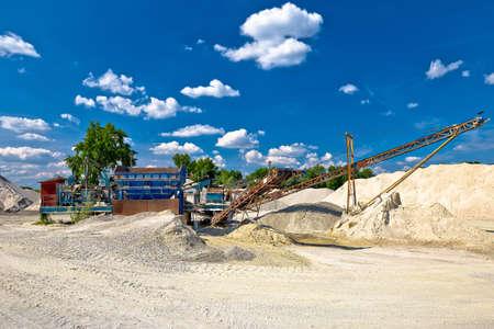 Gravel separator machine excavation line view, river extraction in Podravina region of Croatia