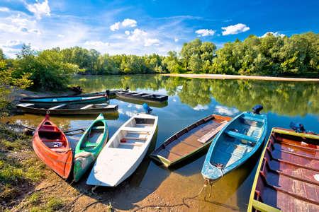Colorful boats on mouth of Drava and Mura rivers, Podravina region of Croatia