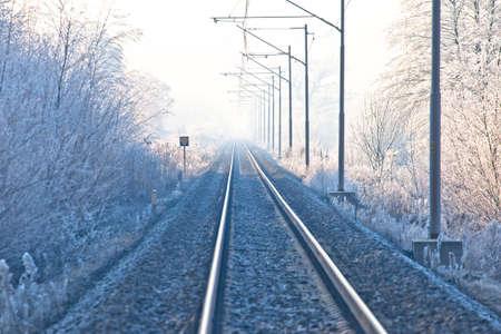 Railroad track in frost landscape view, Podravina region of northern Croatia