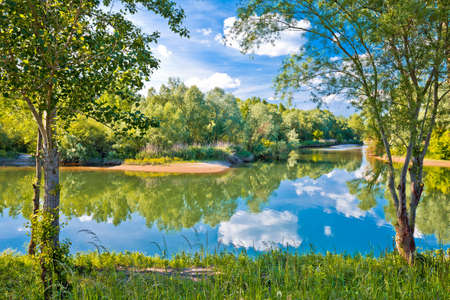 Mouth of Drava and Mura rivers in Podravina region, northern Croatia