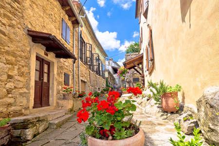 Town of Hum colorful old stone street, Istria region of Croatia