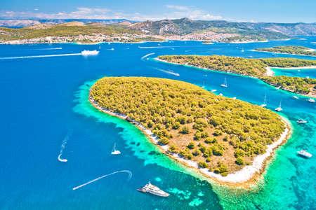 Pakleni otoci sailing destination archipelago aerial view, Hvar island, Dalmatia region of Croatia 免版税图像