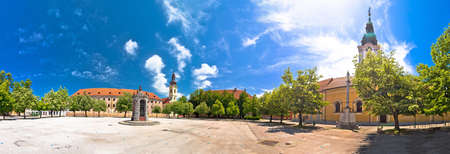 Town of Karlovac main square architecture and nature panoramic view, central Croatia