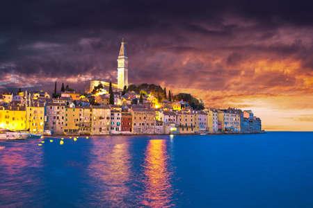 Rovinj. Town of Rovinj waterfront dramatic sky view, Istria region of Croatia Reklamní fotografie