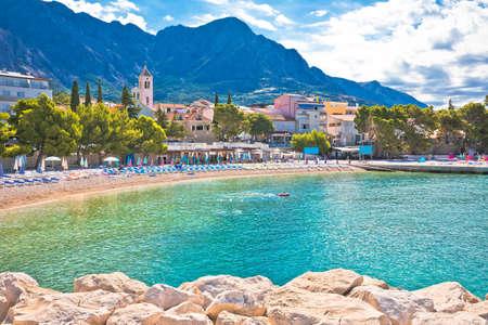 Town of Baska Voda beach and waterfront view, Biokovo mountain, Makarska riviera in Dalmatia, Croatia
