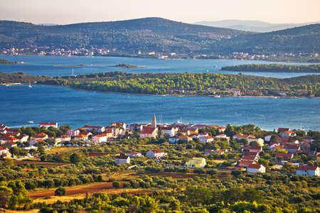 Turanj village and Pasman island archipelago panoramic view, Dalmatia region of Croatia