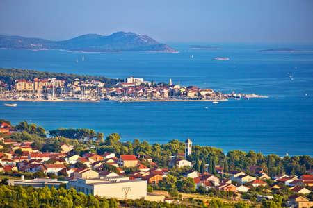 Biograd Na Moru and Sveti Filip i Jakov waterfront panoramic view, towns in Dalmatia region of Croatia