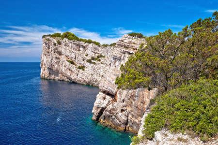 Kornati archipelago national park. Spectacular cliffs of Telascica bay above blue Adriatic sea, Dalmatia region of Croatia