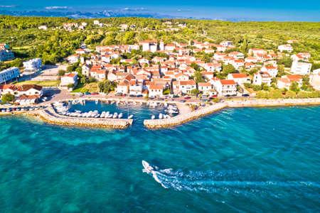 Zadar. Village of Diklo in Zadar archipelago aerial view of harbor and turquoise sea, Dalmatia region of Croatia Фото со стока