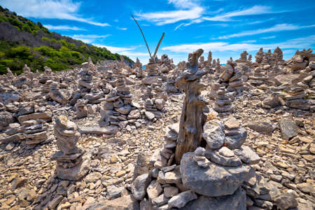 Telascica bay on Dugi Otok island stone desert statues view, archipelago of Kornati, Dalmatia, Croatia Фото со стока