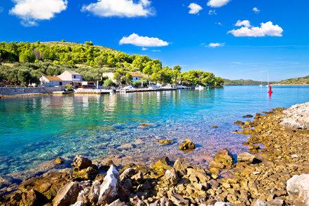 Katina island narrow sea passage in Kornati islands national park pure nature view, archipelago of Dalmatia, Croatia