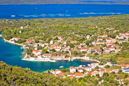 Village of Luka on Dugi Otok island harbor and waterfront panoramic view, Dalmatia region of Croatia Фото со стока