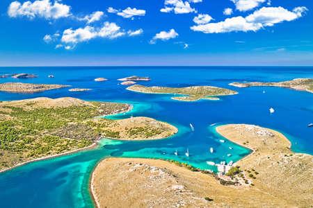 Kornati. Amazing island archipelago landscape of Kornati national park aerial panoramic view, Dalmatia region of Croatia Фото со стока
