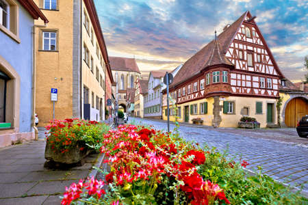 Idyllic Germany. Cobbled street in medieval German town of Rothenburg ob der Tauber view. Bavaria region of Germany