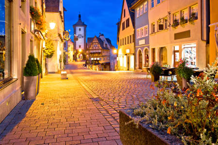 Cobbled street of historic town of Rothenburg ob der Tauber evening view, Romantic road of Bavaria region of Germany
