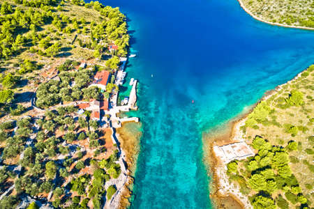 Katina island narrow sea passage in Kornati islands national park aerial view, archipelago of Dalmatia, Croatia Фото со стока