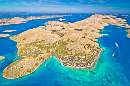 Kornati. Amazing island archipelago landscape of Kornati national park aerial view, Dalmatia region of Croatia